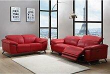 Ledersofa 2-Sitzer AZIDEE - Rot