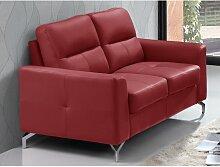 Ledersofa 2-Sitzer EDORI - Büffelleder - Rot
