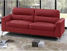 Ledersofa 3-Sitzer EDORI - Büffelleder - Rot