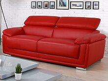 Ledersofa 3-Sitzer MISHKA - Rot