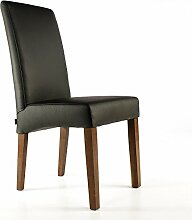 Lederstuhl Bambi Rindsleder Schwarz Nussbaum Lederstühle Stühle Stuhl NEU