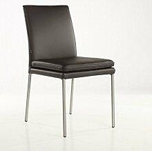 Lederstuhl Ricco Stühle Echtleder Braun | SIX Leder-Stuhl Lederstühle Edelstahl
