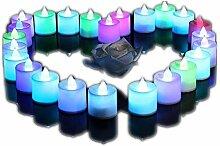 lederTEK 24 LED Kerzen Flammenlose Teelichter,