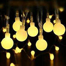 lederTEK LED Lichterkette Milchige Kugel mit Adapter 13Meter 100LED, 8 Modi, Wasserdichte BeleuchtungDeko für Allerheiligen, Außen, Innen, Festen, Weihnachten, Hochzeit, Party (Warmweiß)