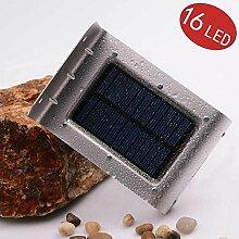 lederTEK, Solar Wandleuchte Außenwandleuchte Außenleuchte 16 LED Bewegungsmelder PIR Wetterfest Rostfrei