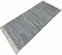 Lederteppich Chelsea | handgewebter Teppich aus Recycling Leder | viele Größen | silber | 120x180 cm