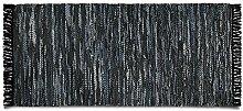 Lederteppich Derby | handgewebter Teppich aus Recycling Leder | viele Größen | charcoal | 120x180 cm