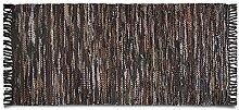Lederteppich Oxford | handgewebter Teppich aus Recycling Leder | viele Größen | braun | 160x230 cm
