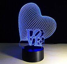 LEDMOMO 3D Herz Formen Nachtlichter 7 Farben LED