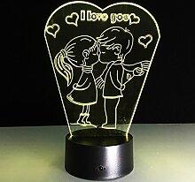 LEDMOMO 3D Herzformen Nachtlichter 7 Farben LED