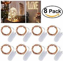 LEDMOMO 8 Stück Mircro Led Lichterkette 20er Mini Lichterkette Batterie (Inbegriffen) 6.6Ft/2M, Warmweiß