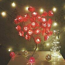 LEDMOMO Baum Licht Rosa Rose Blume Tischlampe Dekoration Lichter mit 24 LEDs für Zuhause Weihnachtsfeier Hochzeit Valentinstag (Eu-stecker)