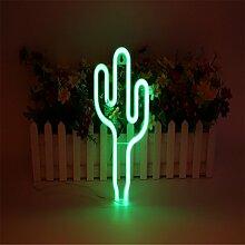 LEDMOMO Neon Signs Kaktus Nachtlichter für Weihnachten Home Decoration (Grün)