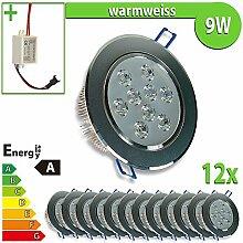 LEDVero 12x LED Einbaustrahler Einbauleuchte 12-er Set 9 W rund, warmweiss EBL142