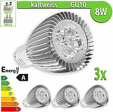 LEDVero 3x 8 W High Power GU10 LED Spot Lampe Strahler, Licht kaltweiß HP65