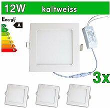 LEDVero 3x Ultraslim LED Panel SMD 2835, 12 W, eckig Deckenleuchte Lampe Einbau Leuchte Licht Strahler, kaltweiß SP182
