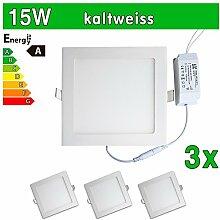 LEDVero 3x Ultraslim LED Panel SMD 2835, 15 W, eckig Deckenleuchte Lampe Einbau Leuchte Licht Strahler, kaltweiß SP199