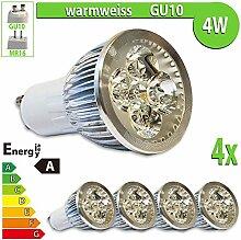 LEDVero 4x 4 W High Power GU10 LED Spot Set Lampe Strahler, Licht warmweiß HP21