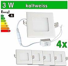 LEDVero 4x Ultraslim LED Panel SMD 2835, 3 W, eckig Deckenleuchte Lampe Einbau Leuchte Licht Strahler, kaltweiß SP129