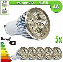 LEDVero 5x 4 W High Power GU10 LED Spot Set Lampe Strahler, Licht warmweiß HP22