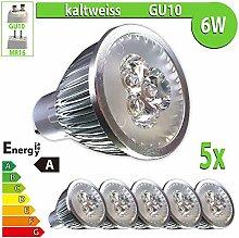 LEDVero 5x 6 W High Power GU10 LED Spot Lampe Strahler, Licht kaltweiß HP49