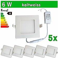LEDVero 5x Ultraslim LED Panel SMD 2835, 6 W, eckig Deckenleuchte Lampe Einbau Leuchte Licht Strahler, kaltweiß SP148