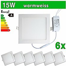 LEDVero 6x Ultraslim LED Panel SMD 2835, 15 W, eckig Deckenleuchte Lampe Einbau Leuchte Licht Strahler, warmweiß SP211