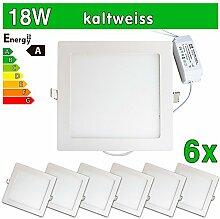 LEDVero 6x Ultraslim LED Panel SMD 2835, 18 W, eckig Deckenleuchte Lampe Einbau Leuchte Licht Strahler, kaltweiß SP220