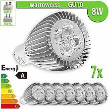 LEDVero 7x 8 W High Power GU10 LED Spot Lampe Strahler, Licht warmweiß HP60