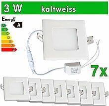 LEDVero 7x Ultraslim LED Panel SMD 2835, 3 W, eckig Deckenleuchte Lampe Einbau Leuchte Licht Strahler, kaltweiß SP132