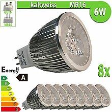 LEDVero 8x 6 W High Power MR16 GU5.3 LED Spot Lampe Strahler, Licht kaltweiß HP142