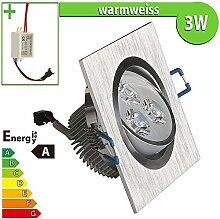 LEDVero LED Einbaustrahler Einbauleuchte 3 W quadratisch, Einbau Strahler Set Decken Leuchte Lampe Spot, warmweiss 100541