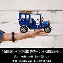 LeediooJahrgangswein Büroeinrichtung Bügeleisen Kunsthandwerk Heimtextilien Modell Oldtimer Wohnzimmer TV-schrank Dekoration Dekoration, 16 cm blau Auto