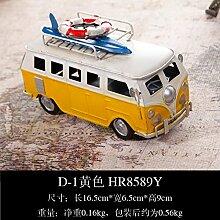 LeediooRetro Vintage auto Modell Auto Dekoration Dekoration cabinet Home Ausstattung Wohnzimmer TV-schrank Dekorationen Bücherregal, Gelb tour bus