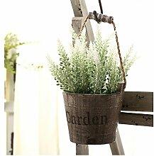 leezeshaw Künstliche Blumen beflockt Lavender Bouquet Fake Lavendel Strauß Kunstleder Pflanze 4/6/8pcs für Innen-Außen Home Garten Büro Balkon Hochzeit Decor, weiß, 8 Stück