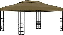 LEFTLY Pavillon mit Doppeldach 3x4m taupe 180g/m²