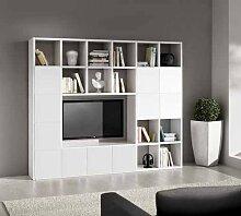Legno&Design TV-Wohnwand Wohnzimmer weiß Esche