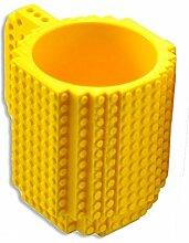 LegoTasse, direkt auf der Tasse aus Steinenbauen, 350ml gelb
