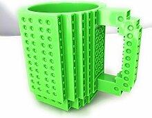 LegoTasse, direkt auf der Tasse aus Steinenbauen, 350ml grün