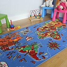 Lehrreiche UNTERHALTSAME farbenfrohe Weltkarte Spielteppich Länder & Meere Kinderteppich 133x200cm