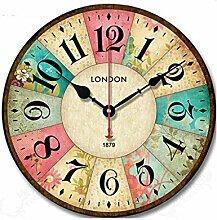 LEI ZE JUN UK- Eisen-runde Wanduhr-dekorative