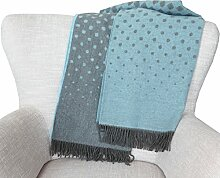 Leichte gedeckt pastellblau-graue Alpaka-Merino Wolldecke (50% Alpaka - 50% Merino), 130x190 cm ca 650 g