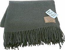 Leichte grau melierte Wolldecke aus extrafeiner Lambswool, 130x190cm mit Fransen, ca 600g 1,5-2mm dick, aus Deutschland, Handwäsche