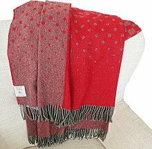 Leichte rot-graue Alpaka-Merino Wolldecke (50% Alpaka - 50% Merino), 130x190 cm ca 650 g