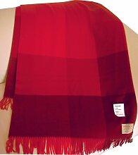 Leichte rot karierte Wolldecke aus extrafeiner
