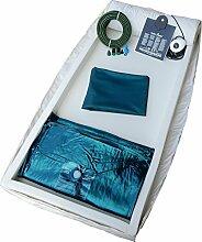 Leichtwasserbett Wassermatratze - Komplettset bestehend aus: Heizsystem Carbon Heater , Wasserkern, Sicherheitsfolie, Frottee Bezug, Softside Schaumstoffwanne, Konditionierer, Vinylreiniger, Entlüfterpumpe, Reparatur-Set, 20 Meter Befüllset - Leichtwassermatratze & Wasserbett (100 x 200 cm, 100% = 0-1sek.)