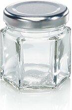 Leifheit Sechskantglas 47ml, Einmachglas, Weckglas