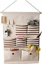 Leinen / Baumwolle Stoff Wand-Tür-hängende Speicher-Beutel-Kasten 7 Taschen