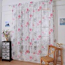 Leinen Garn Druck Halbschattierung Wohnzimmer Schlafzimmer Die fertige Produkt Verschleiß bar Fenster Vorhänge 1 Panel , pink , 145*150cm
