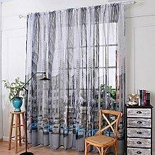 Leinen Garn Drucken Halbschattierung Wohnzimmer Schlafzimmer Das fertige Produkt Verschleiß bar Fenster Vorhänge 1 Panel , car blue , 200*270cm